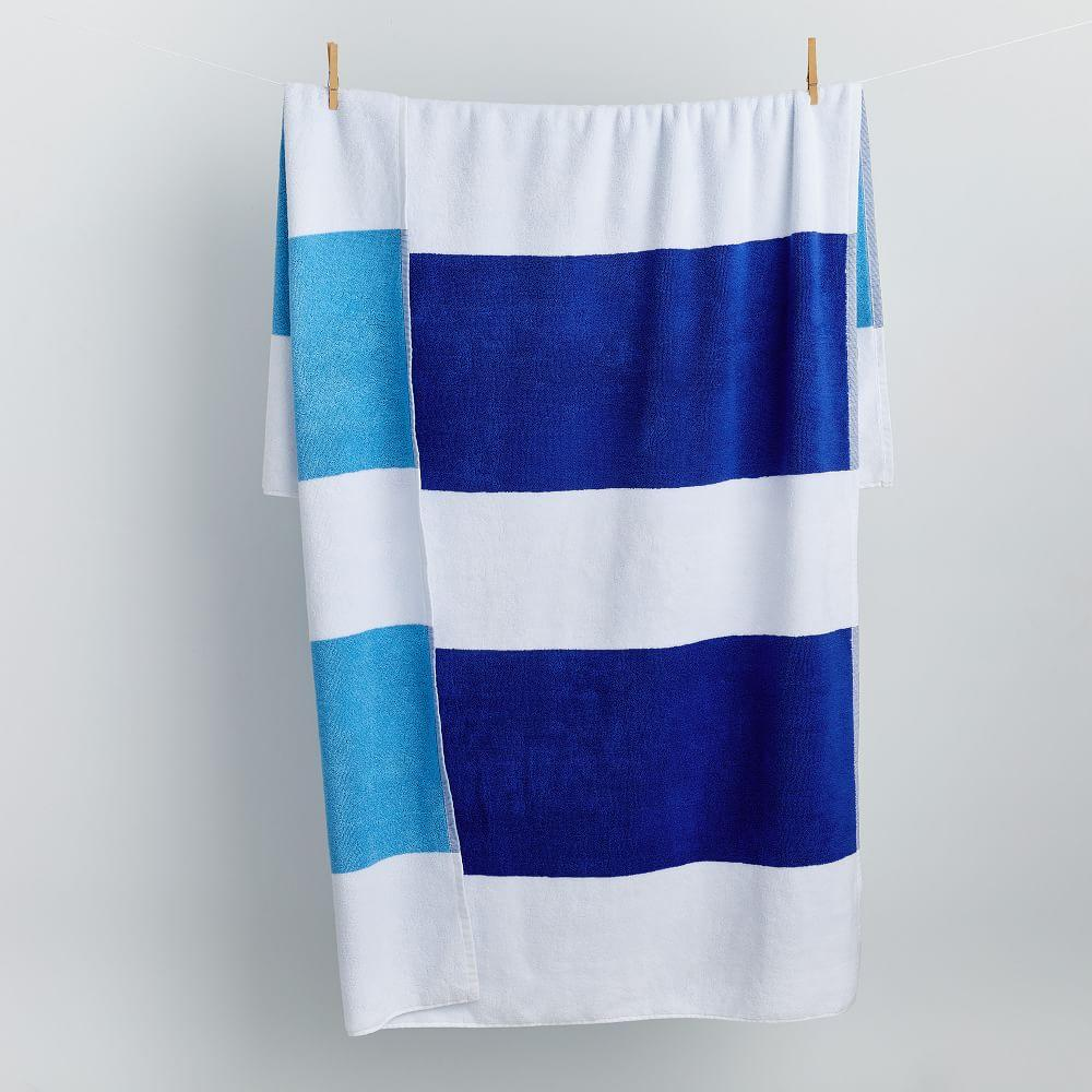 Organic Bold Stripe Reversible Beach Towel - Landscape Blue