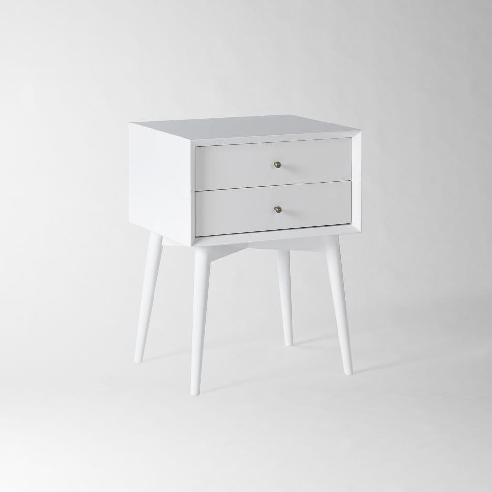 Mid-Century Bedside Table - White