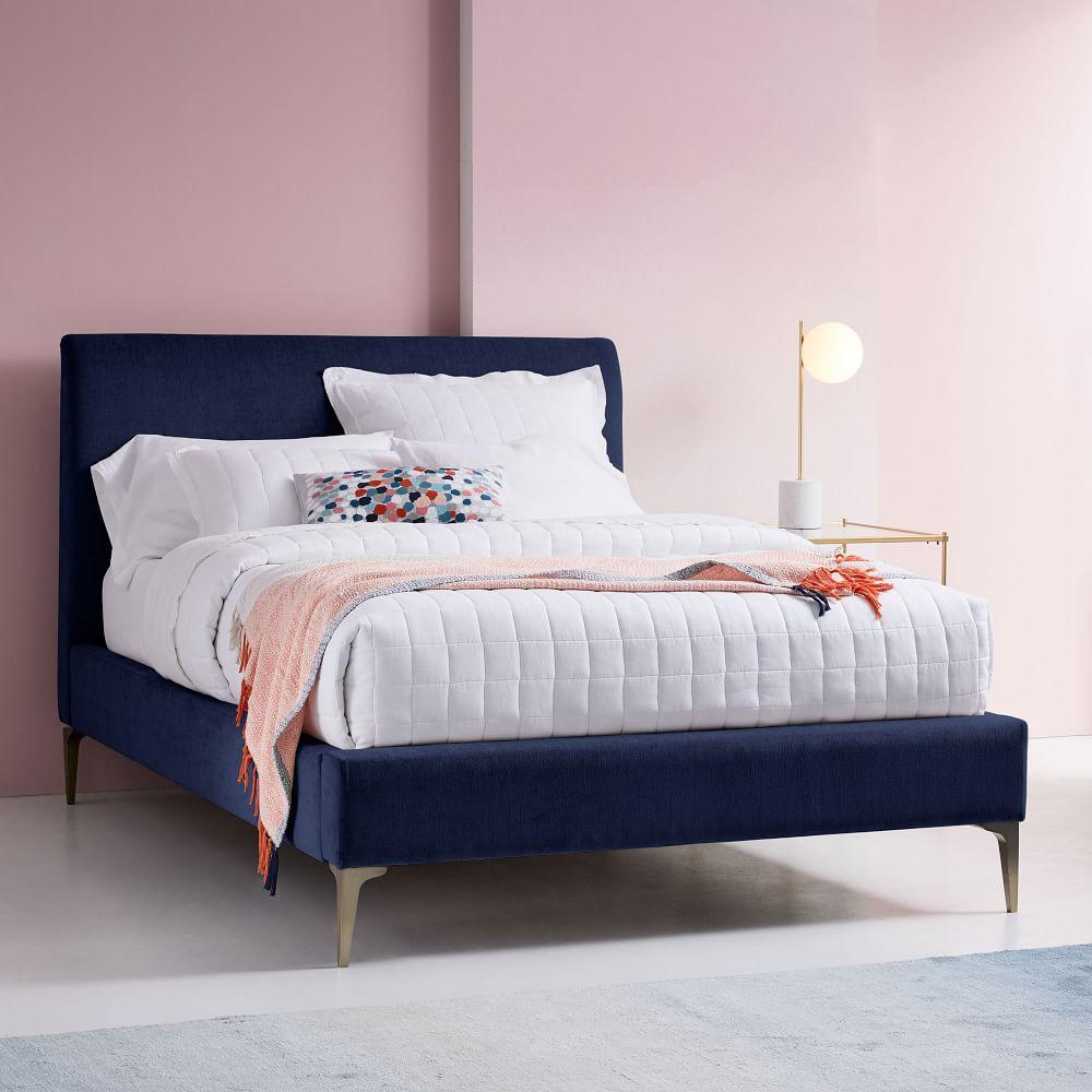 Andes Deco Upholstered Bed - Ink Blue (Performance Velvet)