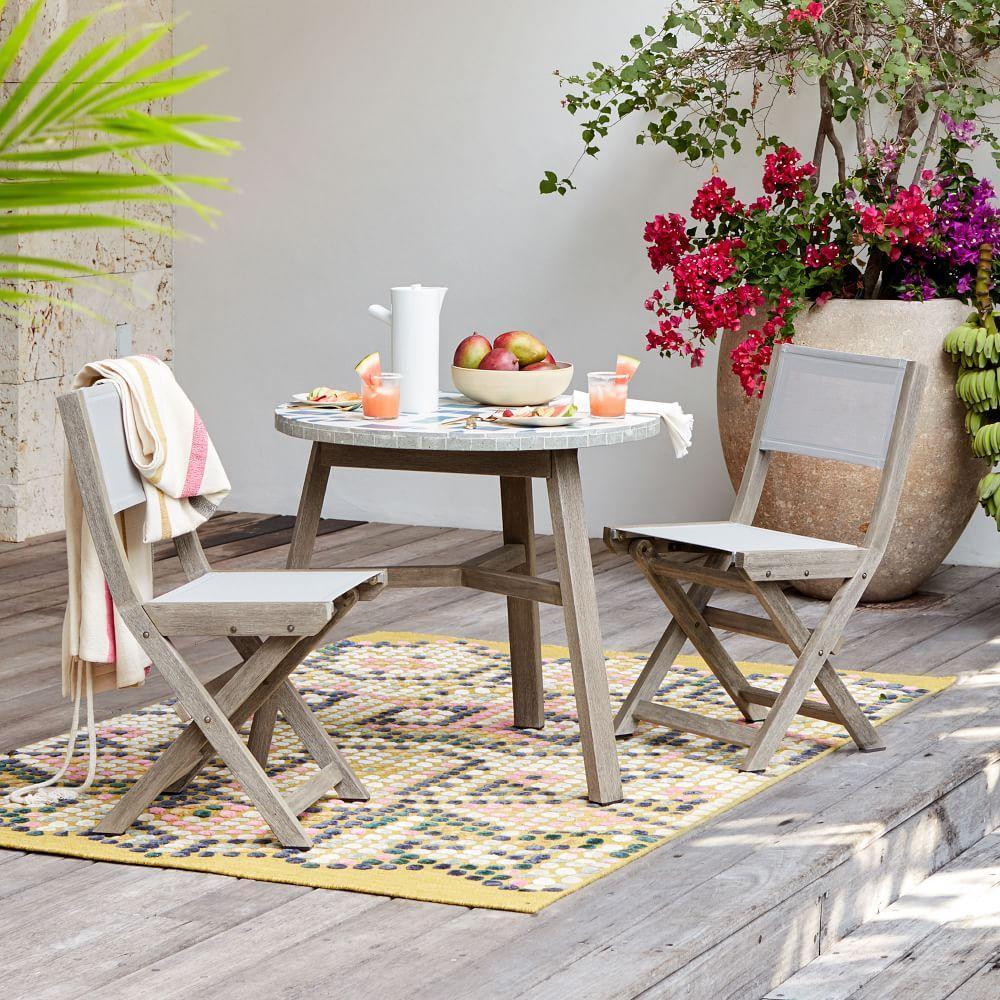 Portside outdoor folding textilene bistro chair weathered grey