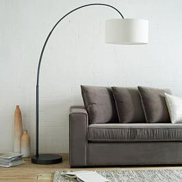 Overarching Linen Shade Floor Lamp - Polished Nickel (196 cm)