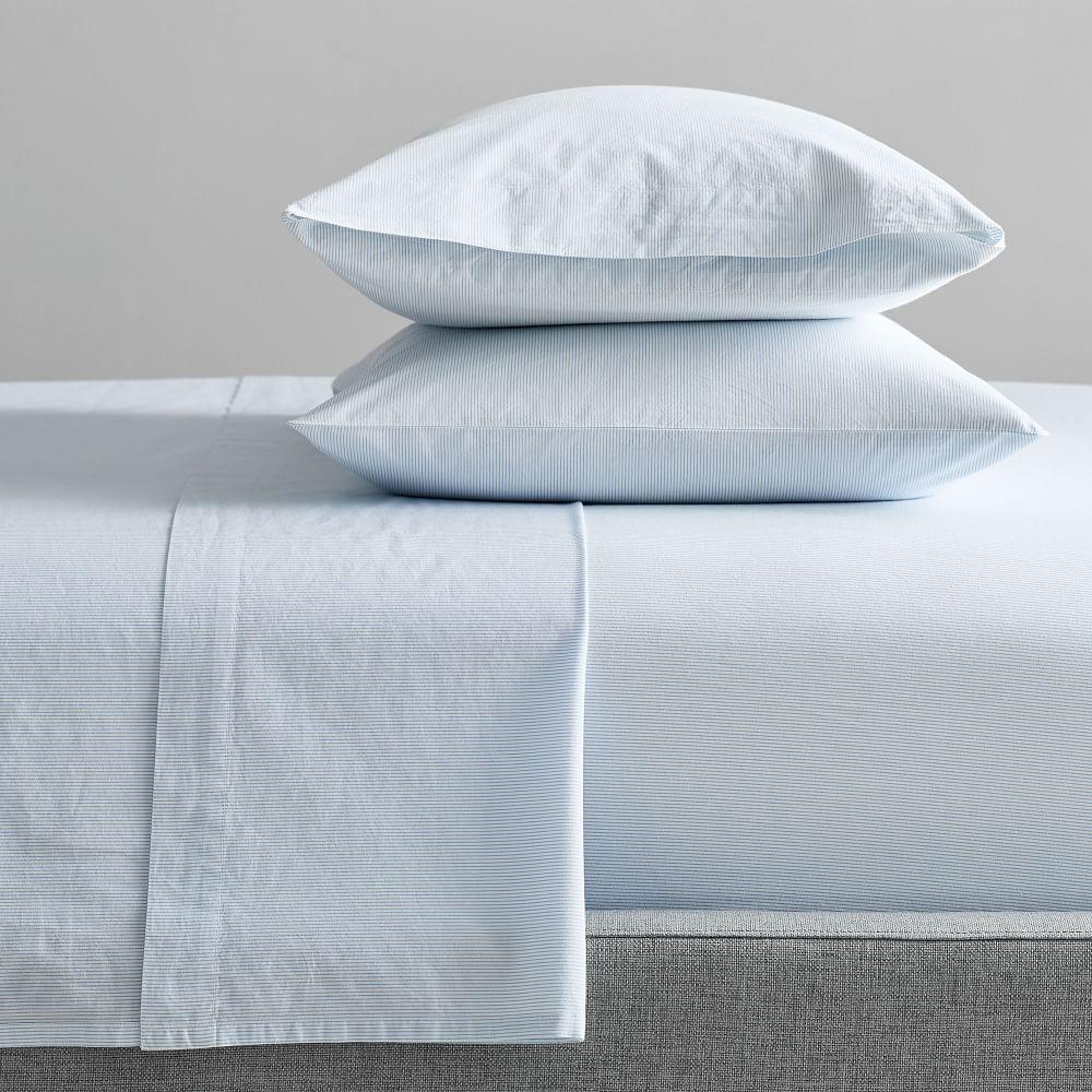 Organic Washed Cotton Stripe Sheet Set - Kyoto Blue
