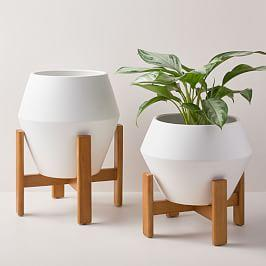 Ilya Turned Wood Planters - White