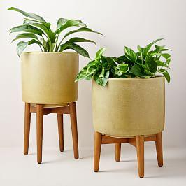 Mid-Century Turned Leg Standing Planters - Crackle