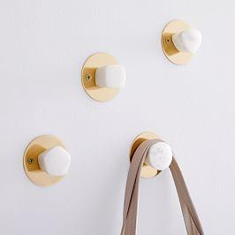 Marble + Brass Wall Hooks (Set of 4)