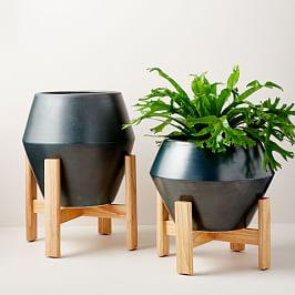 Ilya Turned Wood Planters - Beluga Grey