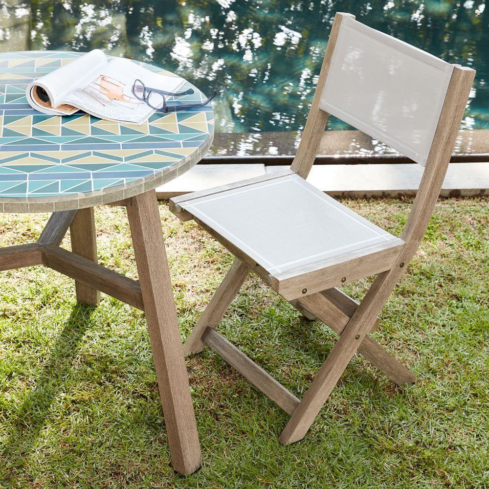 Portside Outdoor Folding Textilene Bistro Chair - Weathered Grey