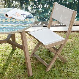 Portside Outdoor Folding Textilene Bistro Chair - Weathered Grey