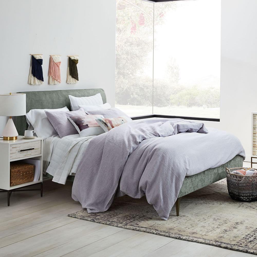 Andes Deco Upholstered Bed - Mineral Grey (Distressed Velvet)