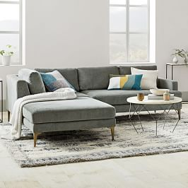 Andes 3-Piece Chaise Sectional - Mineral Grey (Distressed Velvet)
