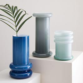 Cased Glass Column Vases