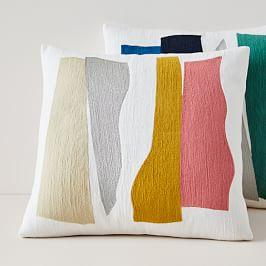 Crewel Wavy Cut-outs Cushion Covers