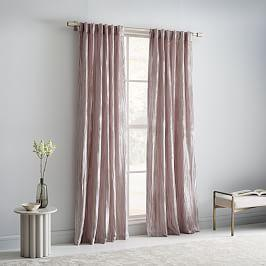 Crinkle Velvet Curtain + Blackout Lining - Dusty Blush