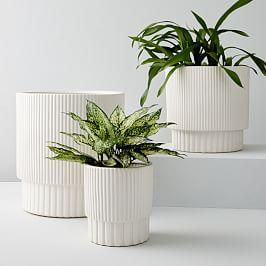 Fluted Planters - White