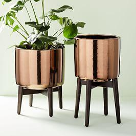 Turned Wood Leg Standing Planters - Metallic