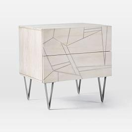 Roar + Rabbit™ Silver Geo Inlay Bedside Table - Bone