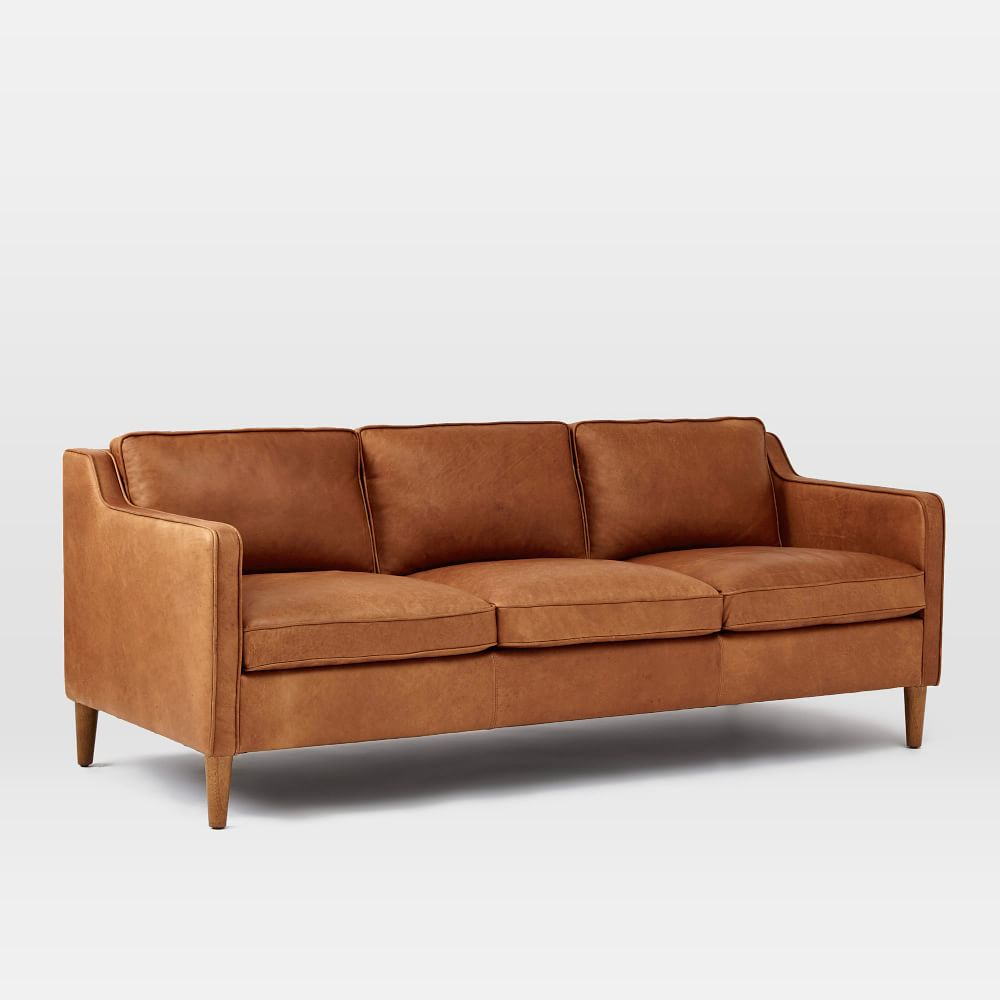 hamilton leather sofa burnt sienna 206 cm west elm. Black Bedroom Furniture Sets. Home Design Ideas