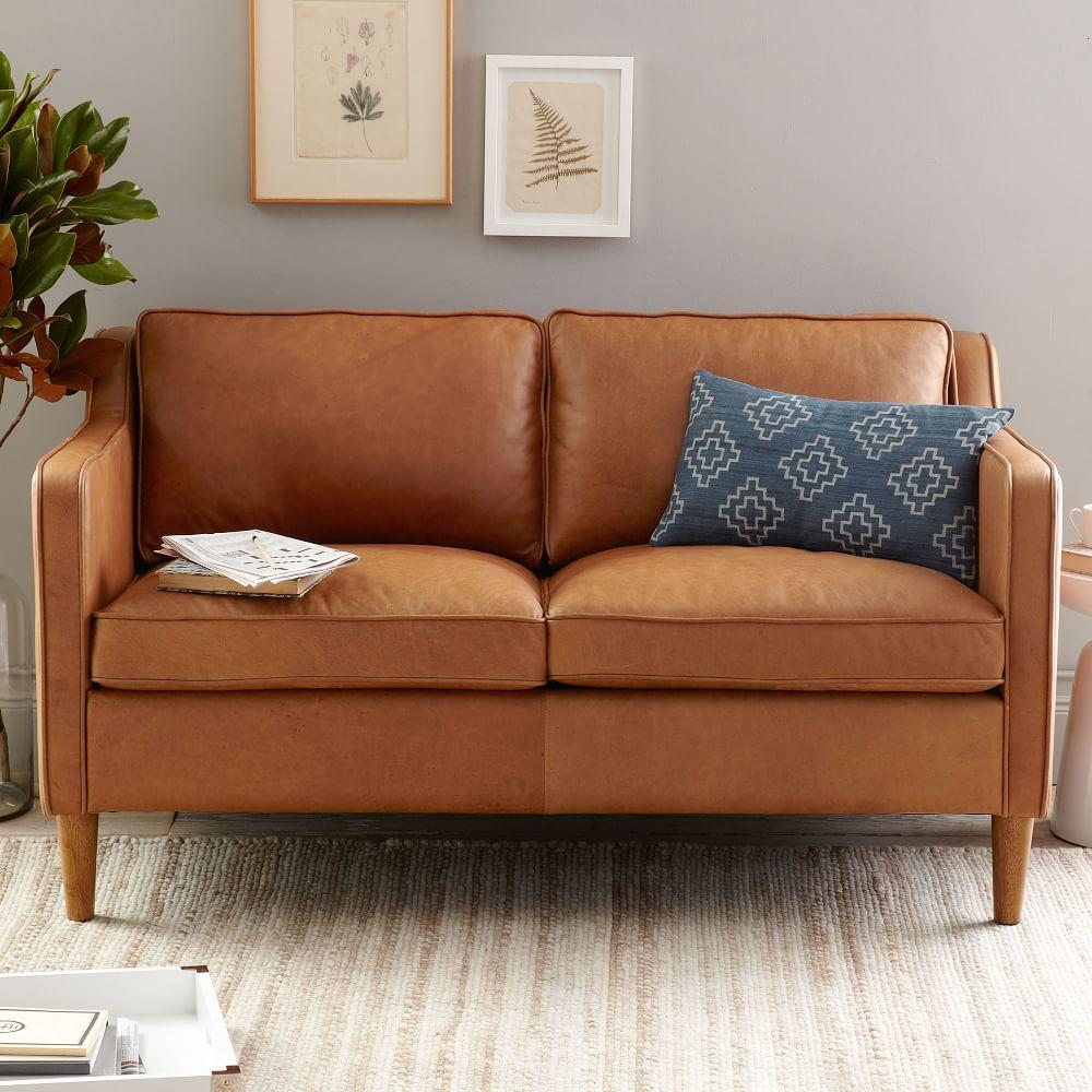 Hamilton Leather Loveseat 142 Cm West Elm Au