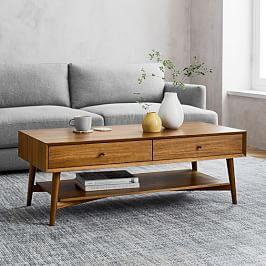 Mid-Century Storage Coffee Table - Acorn