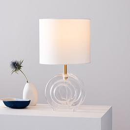 Retro Glass Table Lamp - Clear (36 cm)