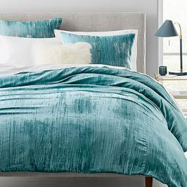 Crinkle Velvet Duvet Cover + Shams - Astor Blue