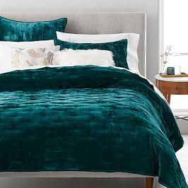 Lush Velvet Tack Stitch Coverlet + Pillowcases - Botanical Garden