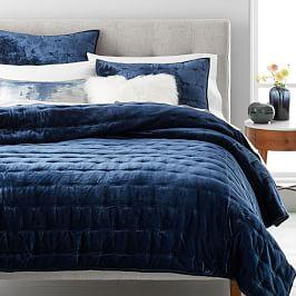 Lush Velvet Tack Stitch Coverlet + Pillowcases - Midnight