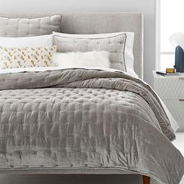 Lush Velvet Tack Stitch Coverlet + Pillowcases - Platinum