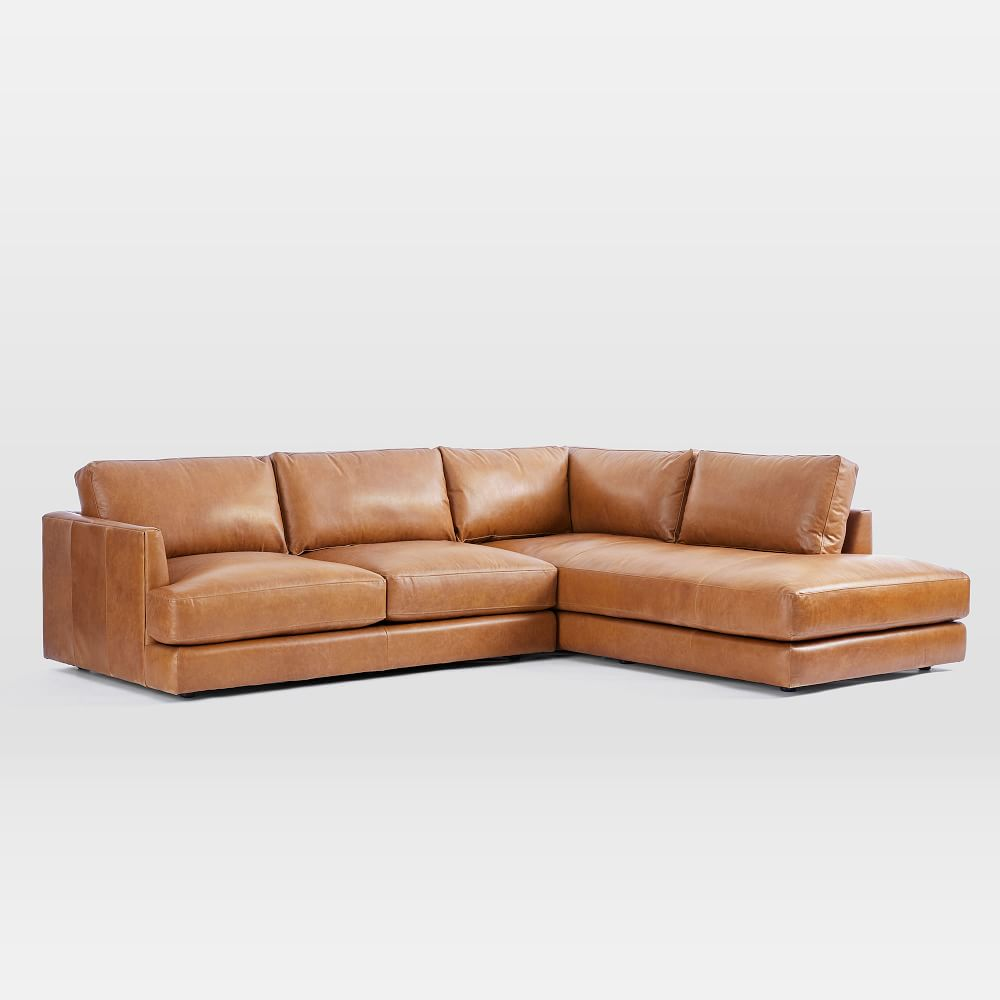 Haven 4 Seater Leather Chaise Modular Sofa (274cm)   west ...