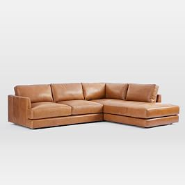 Haven 4 Seater Leather Chaise Modular Sofa (274cm)
