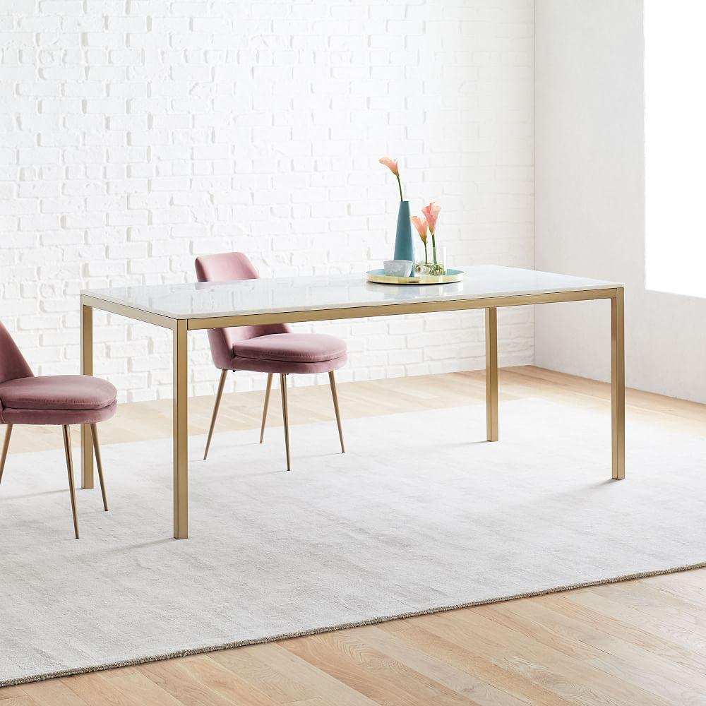 Frame Dining Table - Marble/Antique Brass