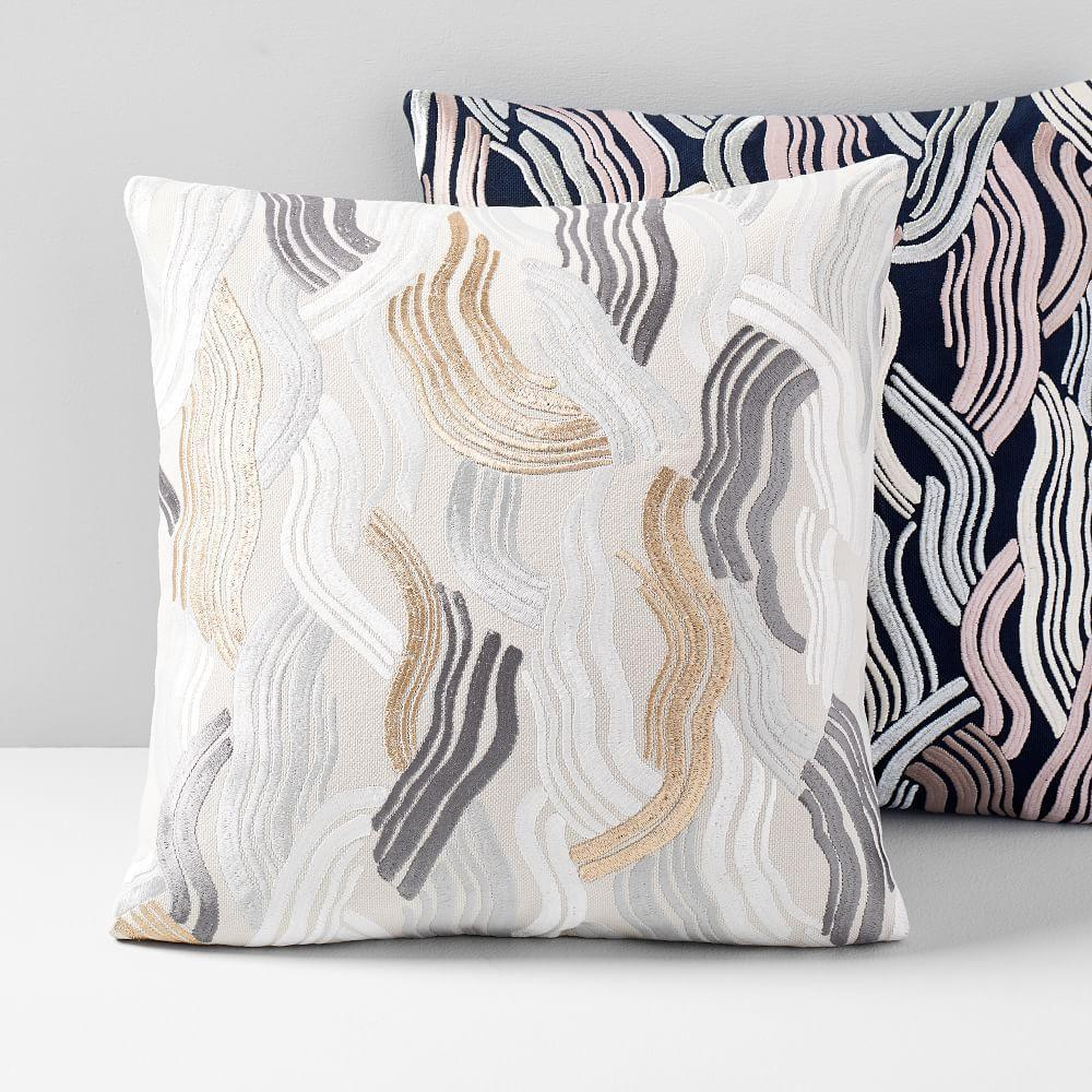 Embroidered Deco Wave Cushion Cover