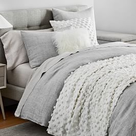 Belgian Flax Linen Quilt Cover + Pillowcases - Frost Grey