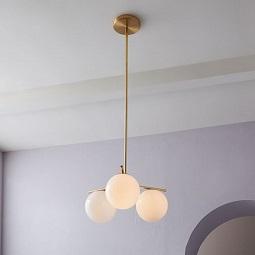 Sphere + Stem 3-Light Chandelier - Brass