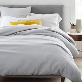 TENCEL™ Cotton Matelasse Quilt Cover + Pillowcase, Frost Grey