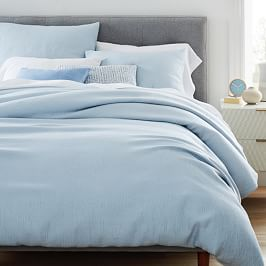 TENCEL™ Cotton Matelasse Quilt Cover + Pillowcase, Glass Blue