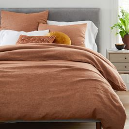 Belgian Flax Linen Quilt Cover + Pillowcases, Terracotta