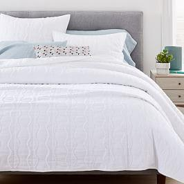 Textured Diamond Stripe Coverlet + Pillowcases - White