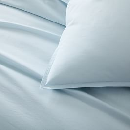 Organic Washed Cotton Percale Quilt Cover and Pillowcases - Lightest Blue