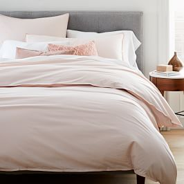Organic Washed Cotton Percale Quilt Cover and Pillowcases - Pink Champagne