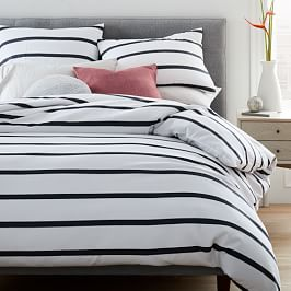 Organic Washed Cotton Percale Bold Stripe Quilt Cover and Pillowcases - Black/Stone White