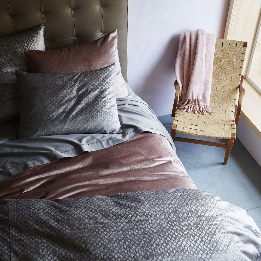 Washed Cotton Lustre Velvet Quilt Cover + Pillowcases - Dusty Blush