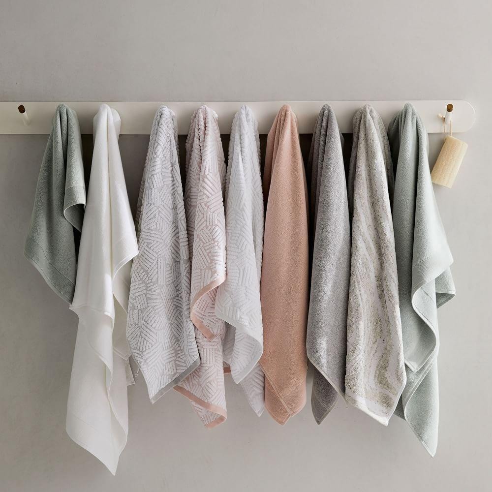 Organic Dashed Lines Sculpted Towels - White