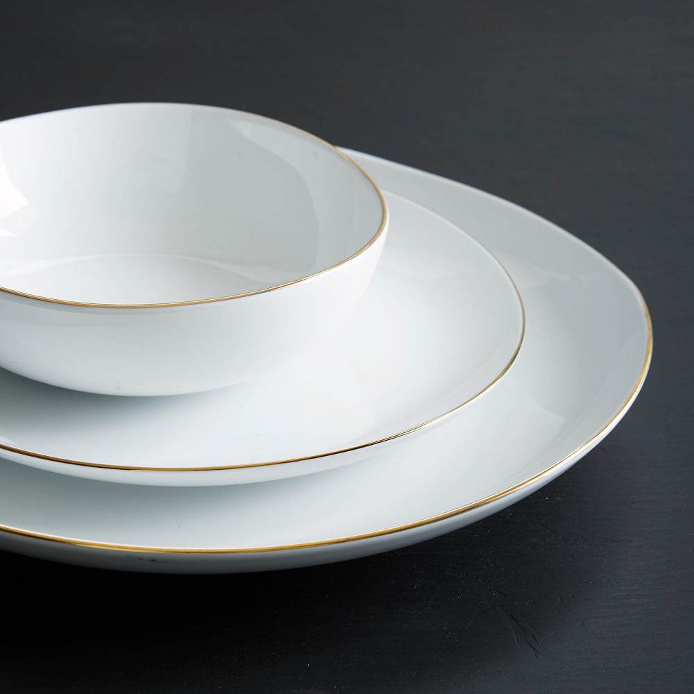 Organic Shaped Dinnerware - Metallic Rimmed