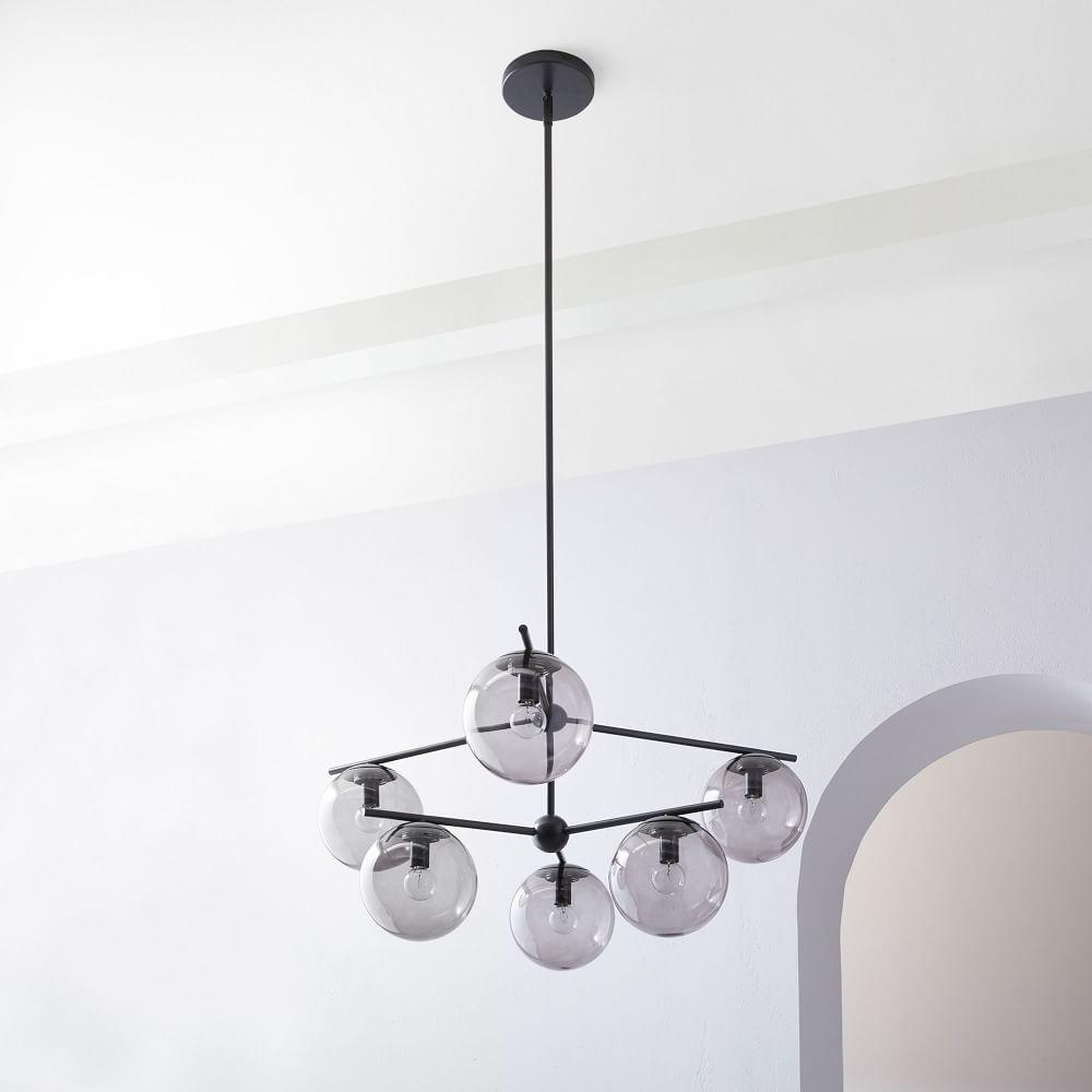 Sphere + Stem 6-Light Chandelier - Bronze