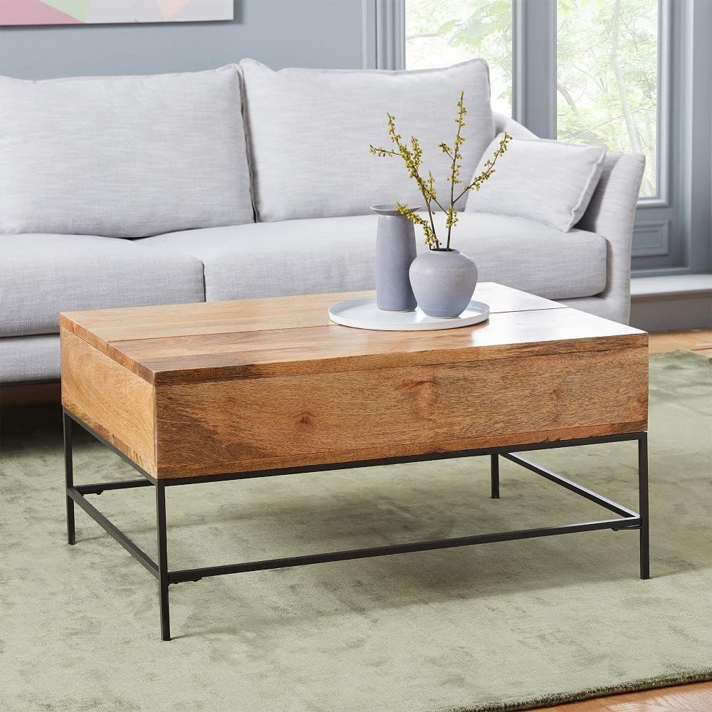 Industrial Storage Pop Up Coffee Table Small 91 Cm West Elm