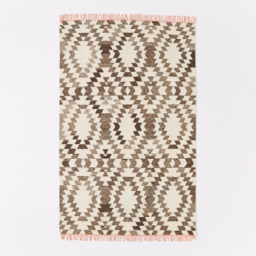 Palmette Chenille Wool Kilim Rug