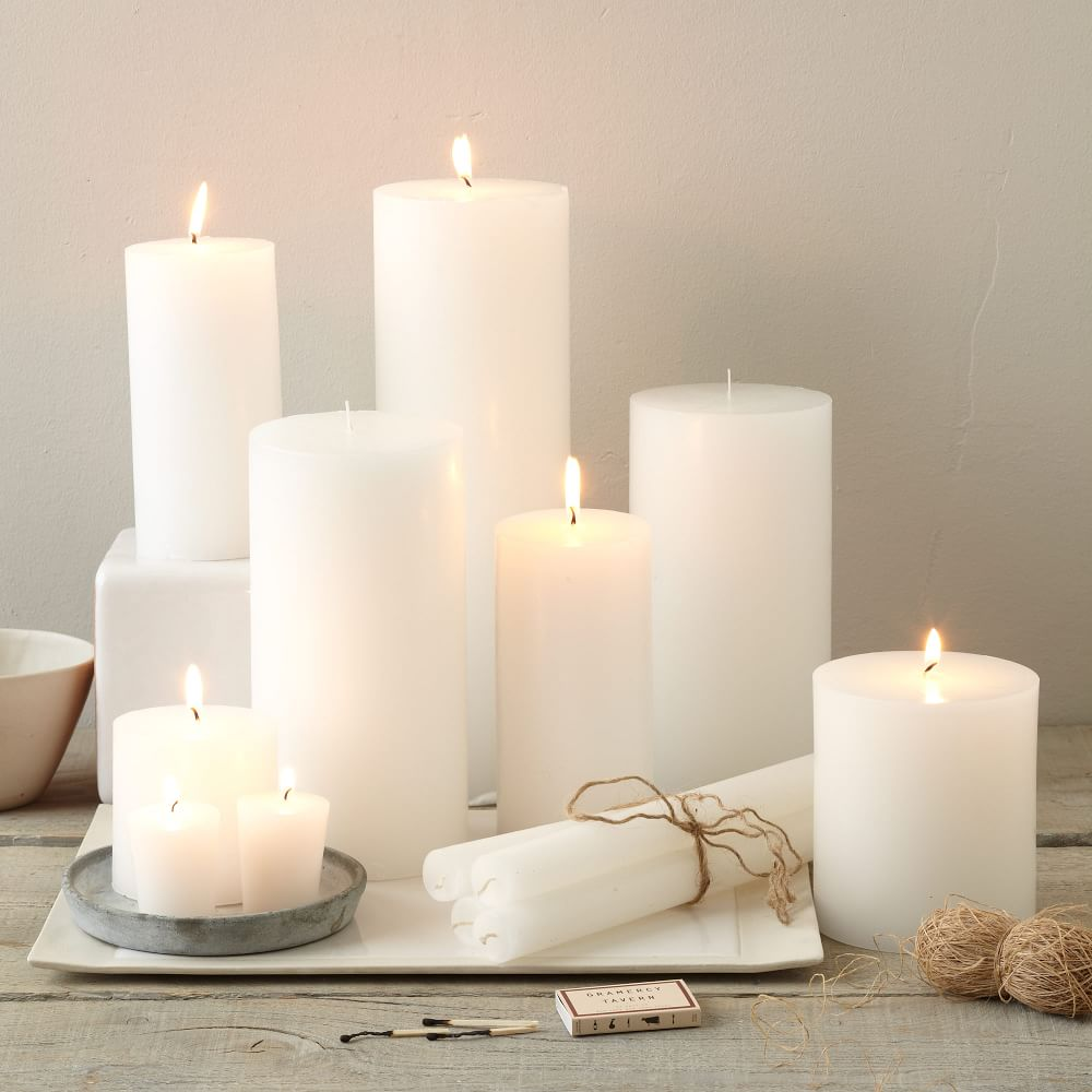 Unscented Wax Pillar Candle