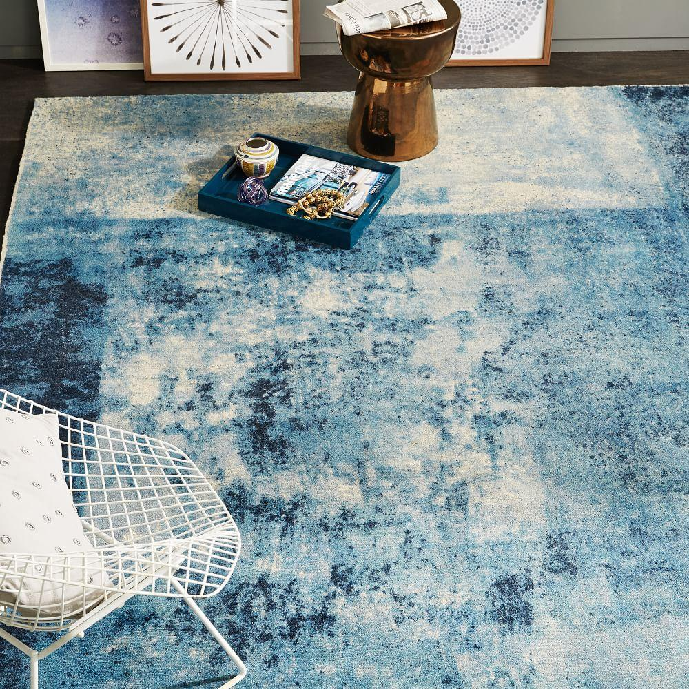 Distressed Rococo Wool Rug Blue Lagoon West Elm Australia
