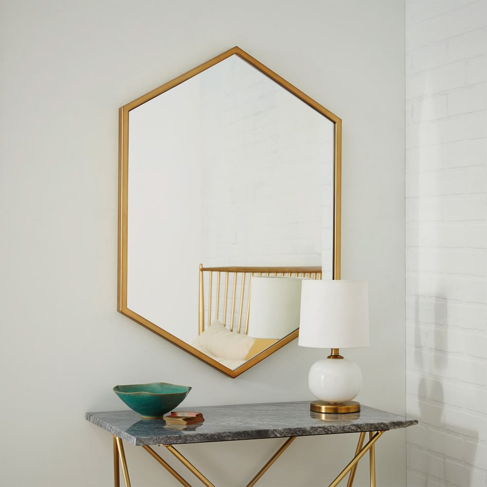 Metal hexagon framed mirror antique brass west elm au metal hexagon framed mirror antique brass amipublicfo Choice Image